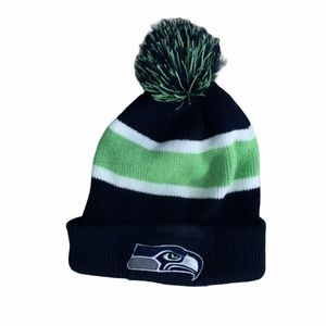Seattle Seahawks Blue and Green PomPom Beanie